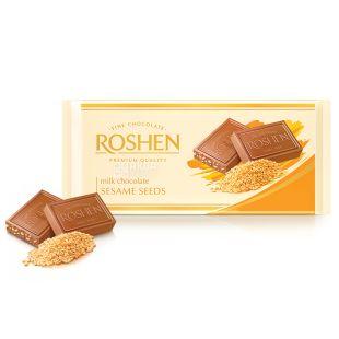 Roshen, 90 г, Шоколад екстрамолочний, З сезамом