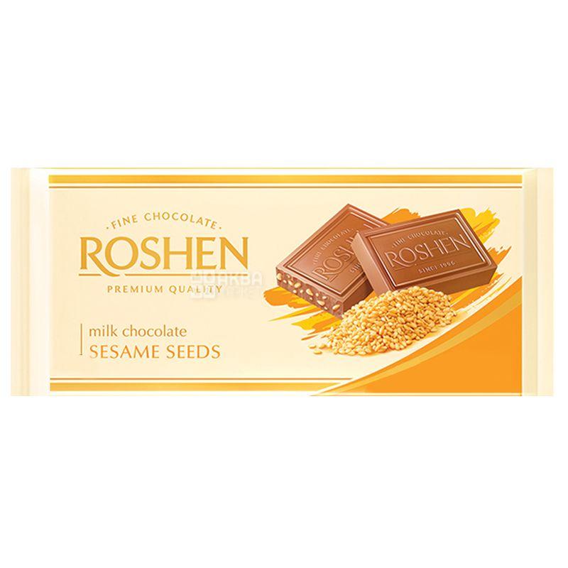 Roshen, 90 г, Шоколад экстрамолочный, С сезамом