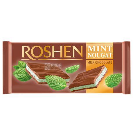 Roshen, 90 г, Шоколад молочний, З м'ятною нугой