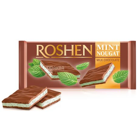 Roshen, 90 г, Шоколад молочный, С мятной нугой