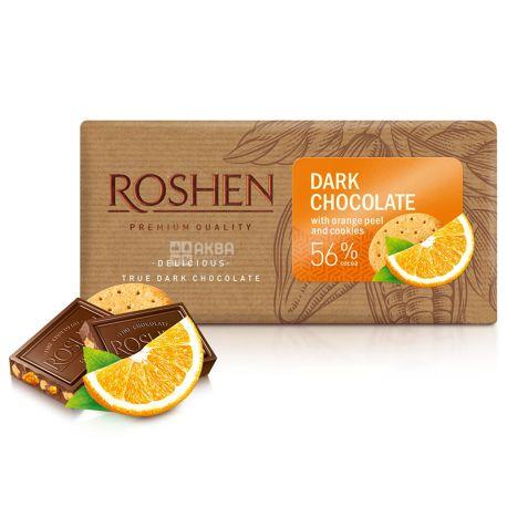 Roshen, 90 g, 56%, Black chocolate, With orange zest and biscuits