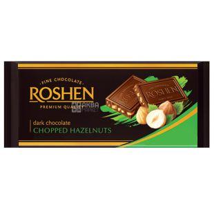 Roshen, 90 g, 56%, Black chocolate, With chopped hazelnuts