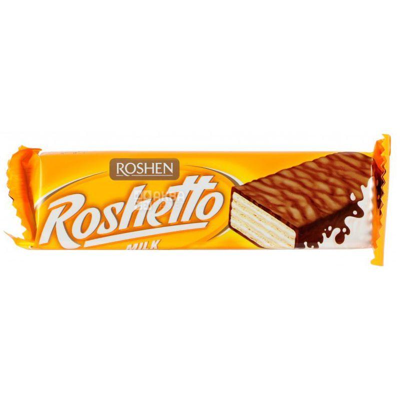 Roshen, 32 г, Вафельный батончик, Молочный шоколад, Roshettо