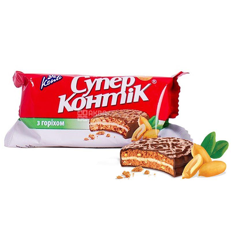 Konti, 100 г, Печенье-сендвич, Супер-контик, Орех молочный