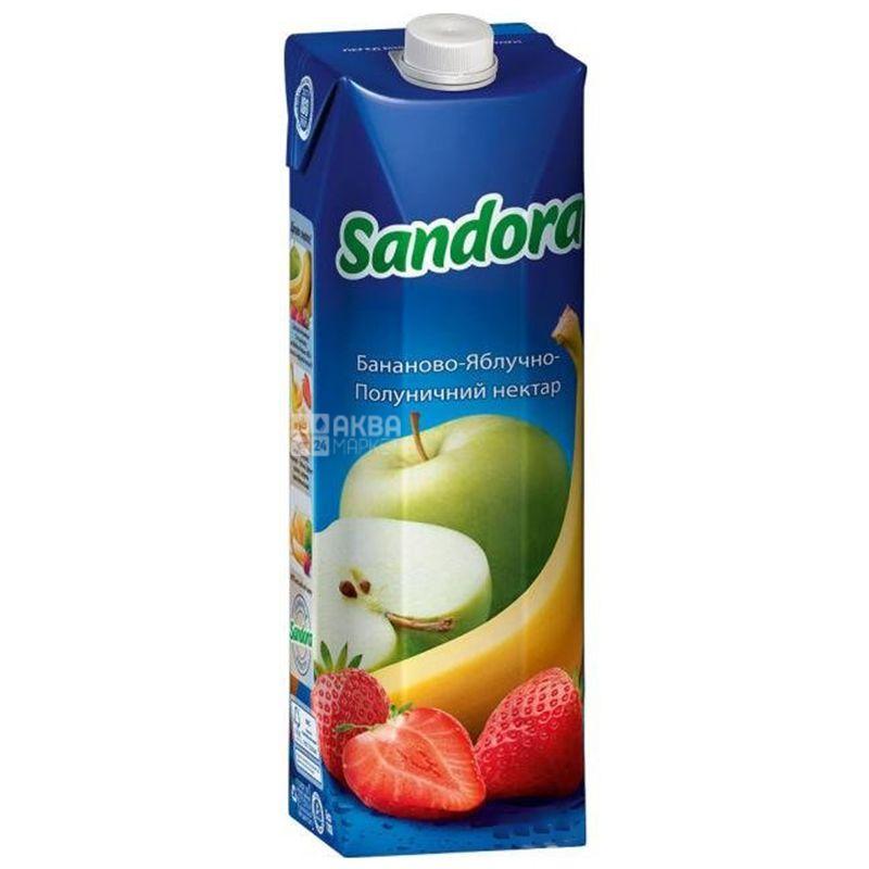 Sandora, Бананово-яблочно-клубничный, 0,95 л, Сандора, Нектар натуральный