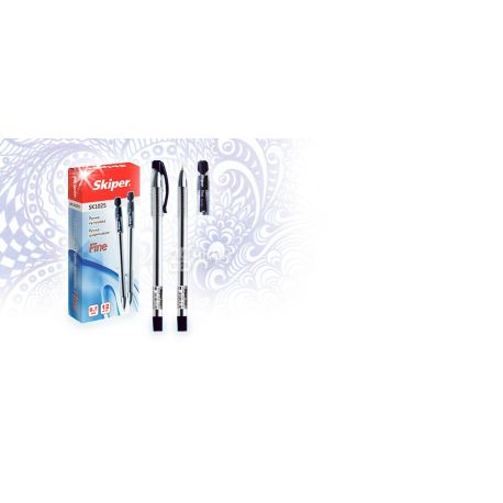 Skiper, 50 шт., 0,7 мм, ручка кулькова, Синя, м/у