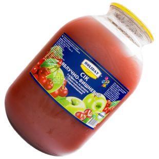 Holiday, 3 л, Сік, Яблучно-вишневий з м'якоттю, скло