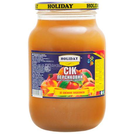 Holiday, Персиковый, 1 л, Холидей, Сок с мякотью, стекло