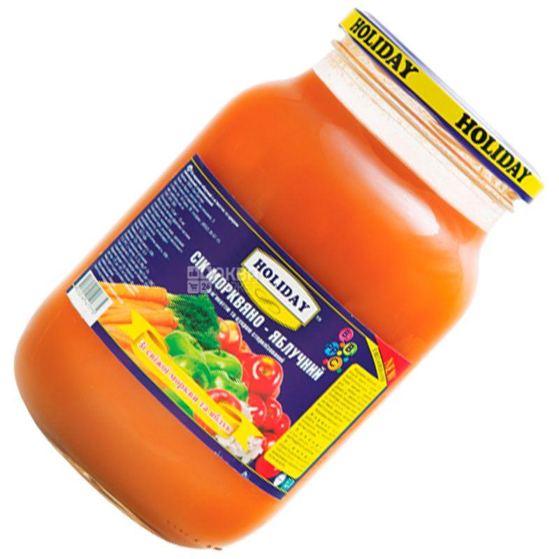 Holiday, Морковно-яблочный,1 л, Холидей, сок с мякотью, стекло