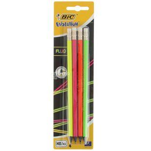 Bic Evolution Fluo, Набор простых карандашей шестиугольных, 4 шт.