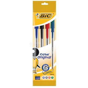 Bic, 4 шт., Набір ручок кольорових, Cristal
