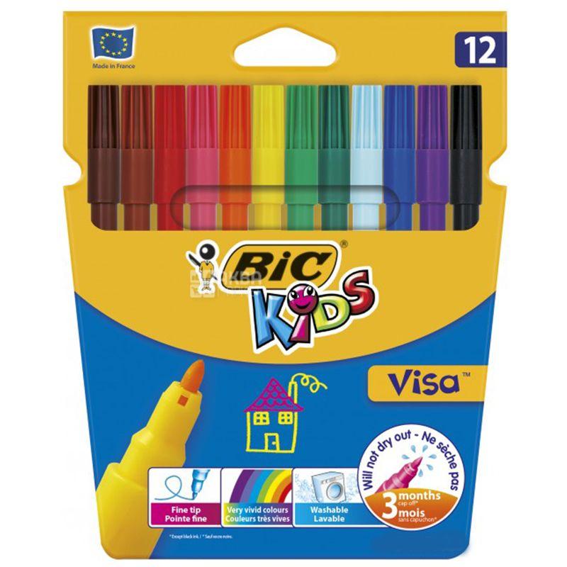 Bic Visa, Фломастери Бик, кольорові, 12 шт.