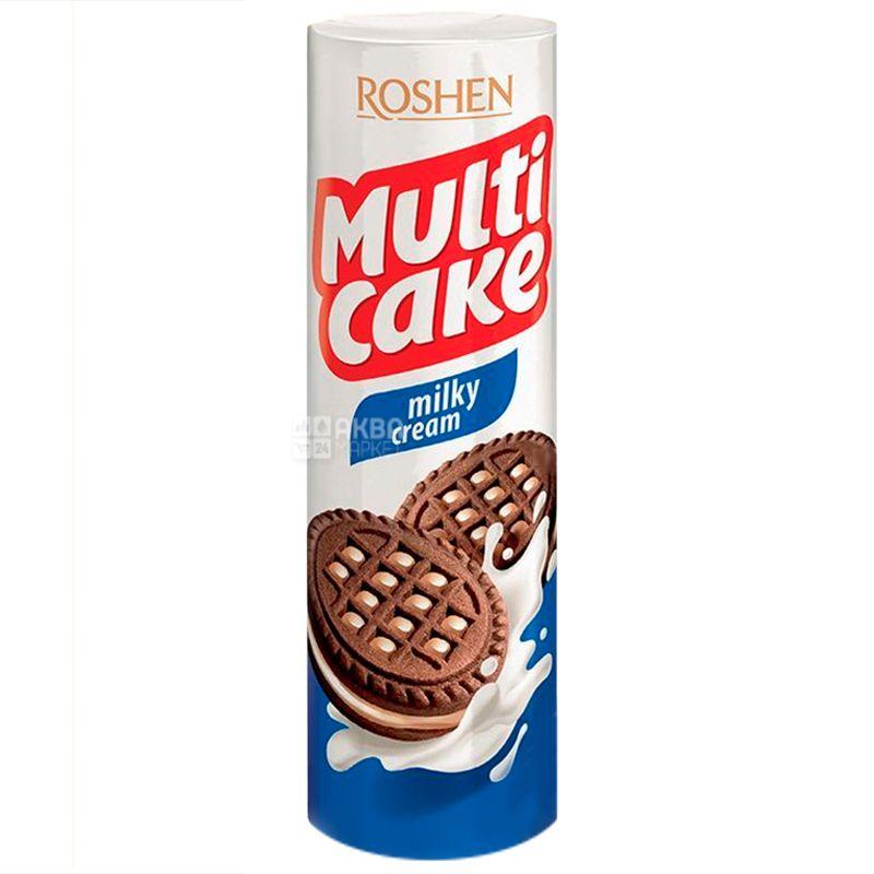 Roshen, 180 г, Печиво-сендвіч шоколадне з молочно-кремовою начинкою, Мульти-Kейк