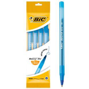 BiC Round Stic Classic 4 шт, Набор синих ручек