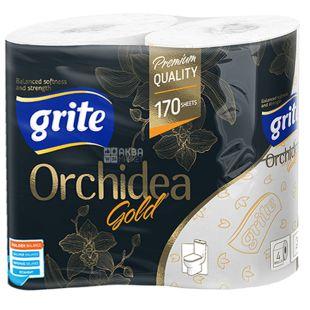 Grite, 4 рулона, Туалетний папір, Orchidea gold