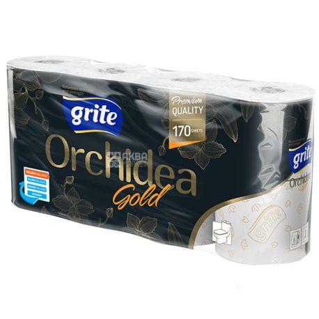 Grite Orchidea Gold, 8 рул., Туалетная бумага Грите Орхидея Голд, 3-х слойная