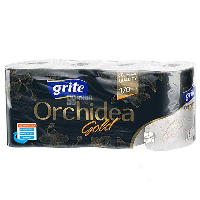 Grite Orchidea Gold, 8 рул., Туалетний папір Грите Орхідея Голд, 3-х шаровий