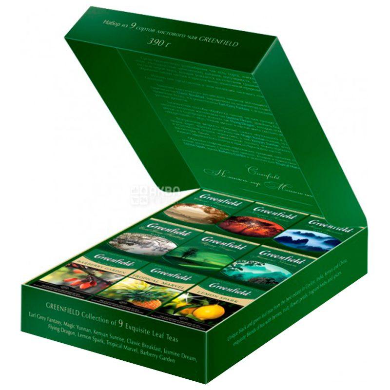 Greenfield, 9 видов по 40 г, Набор чая, Подарочный, Premium tea