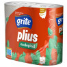 Grite Plius Ecological, 4 rolls, Toilet paper, Three-ply