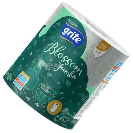 Grite Blossom Jumbo, 1 рул., Бумажные полотенца Грите Джамбо, 2-х слойные, 400 отрывов, 72 м, 23х18 см