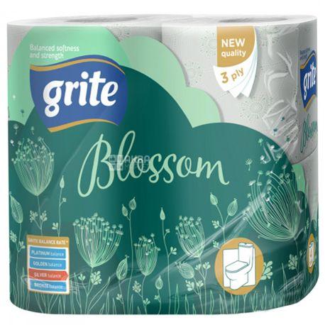 Grite Blossom, 4 рул., Туалетний папір Грите Блоссом, 3-х шаровий