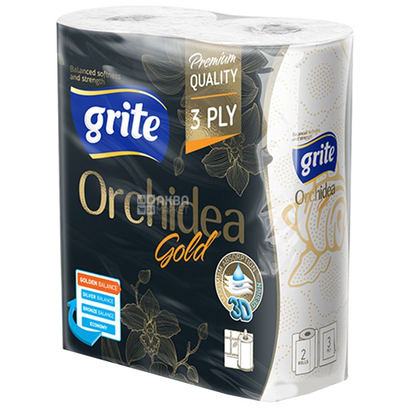 Grite Orchidea gold, 2 rolls, Paper towels, Three-ply