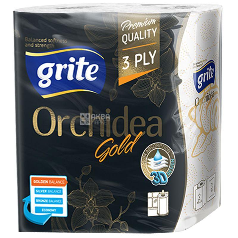 Grite, Orchidea gold, 2 рул., Бумажные полотенца Грите Орхидея Голд, 3-х слойные, 77 отрывов