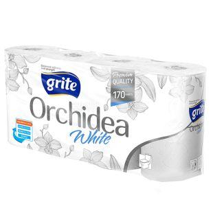 Grite, 8 рул, Туалетний папір, Orchidea white, Тришаровий