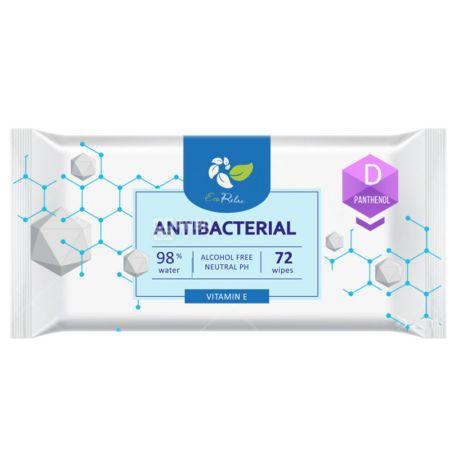ECORelax Antibacterial, 72 шт., Серветки вологі Екорелакс, Антибактеріальні, для догляду за шкірою