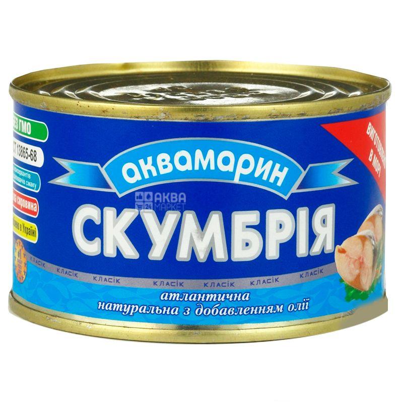 Аквамарин, 230 г, Скумбрия натуральная в масле, ж/б