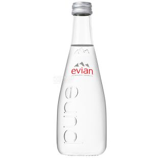 Evian, 0,33 л, Негазированная вода, Стекло