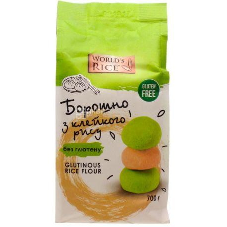 World's Rice, Glutinous Rice flour, 0,7 кг, Борошно Ворлд Райс, з клейкого рису, без глютену, перший сорт