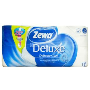 Zewa Deluxe Delicate Care, 8 рул., Туалетная бумага Зева Делюкс, Деликатная Забота, 3-х слойная