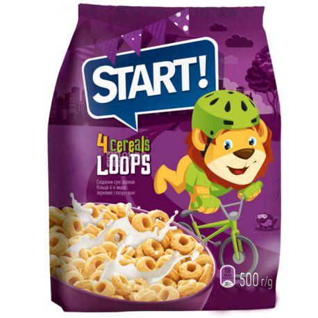 Start, 500 г, Сухий сніданок, Кільця, 4 види зернових