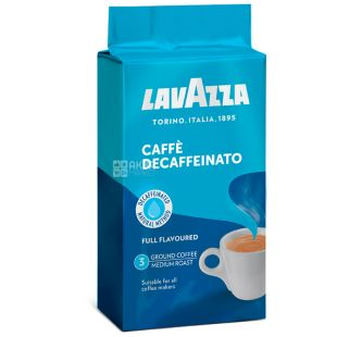 Lavazza Decaffeinato, 250 г, Кофе без кофеина, Молотый, м/у