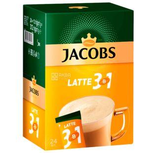 Jacobs, 24 шт. по 13 г, Кавовий напій, Latte, 3 в 1, в стіках