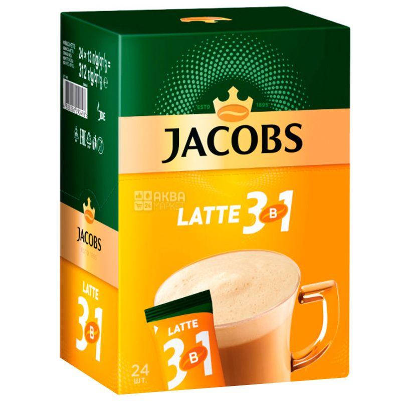 Jacobs, 24 шт. по 13 г, Кофейный напиток, Latte, 3 в 1, в стиках