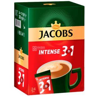 Jacobs, 24 шт. по 13 г, Кавовий напій, Intense 3 в 1, в стіках