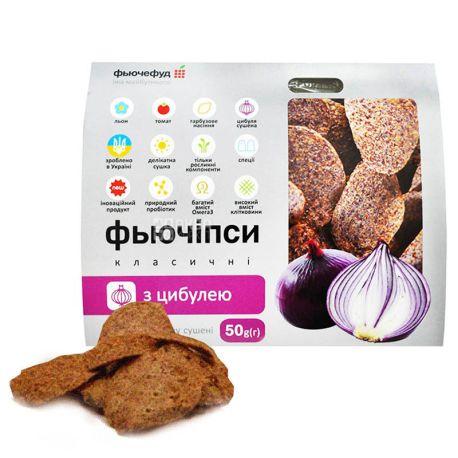 Фьючефуд, 50 г, Фьючіпси, З насінням льону, Класичні з цибулею