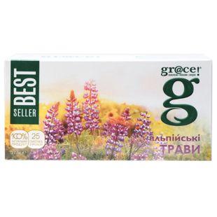 Grace, Альпийские травы, 25 пак., Чай Грейс, зеленый с травами