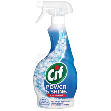 Cif, 500 мл, Спрей для чистки ванной комнаты, Для удаления извести и налета