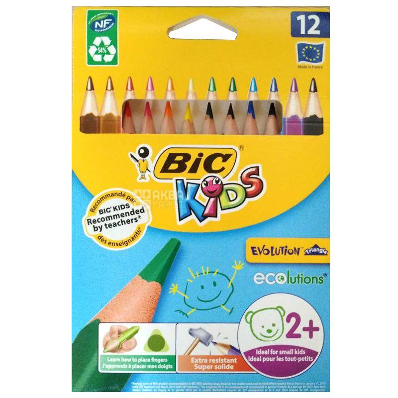 Bic, 12 шт., Набор  цветных карандашей шестиугольных, Evolution НВ
