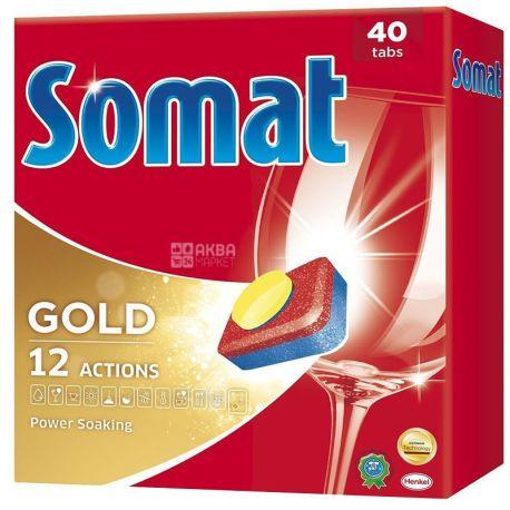 Somat, 40 шт., Таблетки для посудомоечных машин, Gold