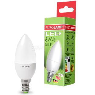 Eurolamp, 6 Вт, E14, Лампа Світлодіодна, ЭКО, 4000K (холодне світло), 220 V