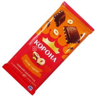 Корона, 90 г, 57%, Шоколад чорний, З лісовими горіхами