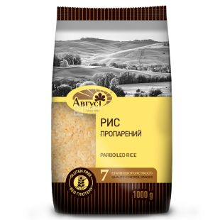 Август, Parboiled Rice, 1 кг, Рис Парбоілд, пропарений, шліфований