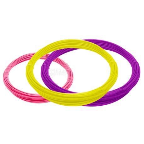 Пластик, Для 3D ручки, Набор 3 цвета