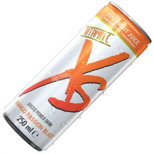 XS, 250 мл, Энергетический напиток, Со вкусом манго и маракуйи, ж/б