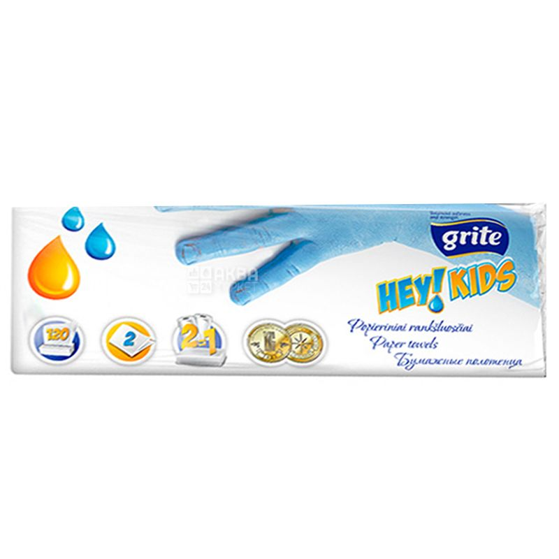 Grite, Hey kids, 120 аркушів, Рушники паперові Гріте Кідс, 2-шарові, 220х230 мм