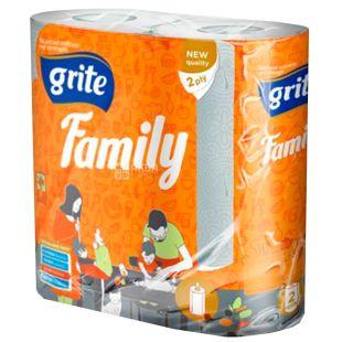 Grite, 2 рулона, Рушники паперові, Двошарові, Family
